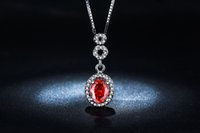 big charm necklaces - 2016NEW STYLE Necklace Pendant white gold plated jewelry for women big Red gem AAA Zircon vintage wedding chain necklace msn011