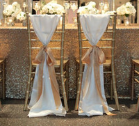 Cheap FashionTaffeta Chair covers Without Champagne Ribbon Seqined Organza Most Popular Wedding Favors Wedding Chair Sashes Wedding Decorations