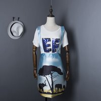africa letter - Africa park scene abstract print overall skirts women loose casual white letters sequines tees tops ladies skirts suit NS459