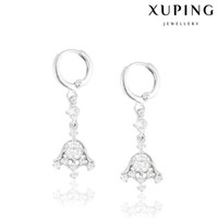 bell flower plant - Wedding Jewelry Zirconia Bell Charm Earrings Luxury Rhodium Plated Copper Elastic Earhoop Xuping Brand Fashion Jewelry for Christmas Or Gift