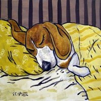 beagle art - Beagle sleep picture ceramic pet dog art tile coaster Pure Hand Painted folk pop Art Oil Painting Canvas any customized size accepted sch