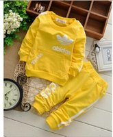 Wholesale New children Spring and Autumn paragraph baby boys and girls cotton long sleeved suit children sports suit years