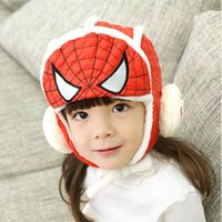 Wholesale 2016 New Style Spider man Children Winter Hat With Cashmere Cool Baby Winter Beanies Earflaps Soft Warm Headgear High Quality