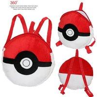 Wholesale Poke Pikachu Pets cartoon plush backpack school bag Cute cartoon red coal dust balls elves Min Order Pieces