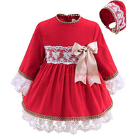 baby clothes decorations - Pettigirl Red Boutique Infant Girl Autumn Dress With Headwear Bow Decoration Lace Long Sleeved Clothing Baby Knee Lenhht Wear G DMGD908
