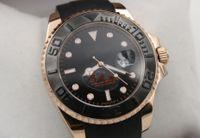 auto bezel - Everose gold Rubber Oysterflex bracelet Fashion mm Ceramic Bezel Mens Watch Sports Men Automatic Self Wind Watches role x watch