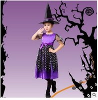 Wholesale 2016 Halloween Party Dress Clothes Children Witch Cosplay Role Playing Clothing Halloween Costumes Girls Performing Table w9