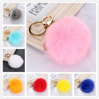 Wholesale 2016 Hot Fur Ball Key Chain For Girls Colors Genuie Rabbit Fur Women Key Ring mm Plush Car Handbags Key Ring