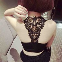 Cheap Wholesale-Summer Sexy Modal Tube Top Lace Floral Sports Breathable Soft Women Girl Camisole Tank Solid Corset Strapless Underwear Lingerie