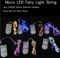 Wholesale Led Battery Curtain Fairy Lights - Newest CR2032 battery operated 2M 20LEDS micro led fairy string light Copper Wire led string holiday light decorations