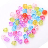 acrylic bicone beads - New Fashion mm Candy Color Acrylic Bicone Shaped Faced Spacer Beads For DIY Bracelects Necklace Making