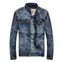 Wholesale American Style Mens Blue Denim Motorcycle Club Biker Jackets With Spikes In Shoulders M L XL XXL XXXL High Quality