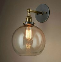antique wall fixture - Retro Antique Wall lamps Clear Glass lampshade Indusrial Vintage Wall Fixtures E27 V V Bedside Home Decoration Wall Light