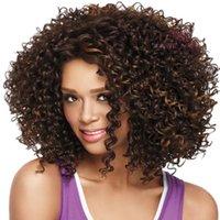 al por mayor tapas peluca negro de calidad-Pelucas de pelo rizado de la mejor calidad Peluca de pelo de Ladys sintética Estilo de la manera Nueva peluca de pelo rizado de África del pelo rizado con estilo negro para la mujer negra