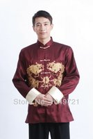 Wholesale chinese tang suit hot chinese costume men style tang suits cotton long sleeves taichi wingchun kungfu tops