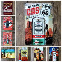 Wholesale NEW quot Route gas station quot Tin metal Signs Vintage House Cafe Restaurant Poster Painting x30 cm wall pictures