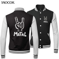 baseball jackets for sale - Fall Winter Outdoor American Coats Tracksuit Top Brand Printed Metal Rock Band Baseball Style Sports Jackets For Men Hot Sale