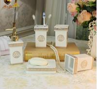 Wholesale White Color Ceramic Bathroom Accessories Elegant Pieces Bathroom sets soap bottle soap dish toothbrush holder cups LH28