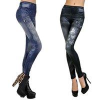 Wholesale Look Punk Casual - Women Sexy Tattoo Legging Jean Look Leggings Punk Sport Academies American Apparel Jeans Pants Woman HB88