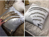 Wholesale Mermaid Sequin pillow magical color changing reversible sequin throw pillow cover Home Decor Cushion Cover Decorative Pillowcase