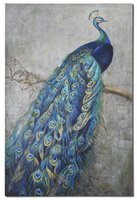 abstract displays - Proud peacock displays vibrant shades of turquoise blue mixed with greens and yellows in this hand painted artwork120X180CM