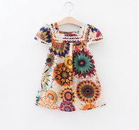 Wholesale ZA Summer Sunflower Geometric Print Lace Dress T shirt Cap Sleeve Summer Children Clothes Girl s T shirt Kids Cotton Tops Tees K7400
