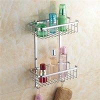 baskets for shelves - Two Layer Bathroom Rack Chrome Brass Towel Washing Shower Basket Bar Shelf bathroom shelves for bath HJ L