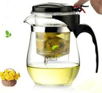 al por mayor conjunto del puer-500ml Tetera de vidrio resistente al calor Set de té de kung fu chino Puer Kettle Coffee Glass Maker Tazón de té de oficina conveniente