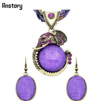 Cheap Fashion Jewelry Antique Bronze Plated Cute Personality Elephant Pendant Necklace Earrings Jewelry Sets TS244