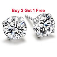 big diamond earrings for men - arrings Stud Earrings Real Pure Sterling Silver Purple Simulated Diamond CZ Crystal Big Round Stud Earrings For Women Girls Men Fashi