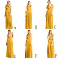beach diy - New DIY Convertible Neckline Flowing Mustard Bridesmaid Dresses A Line V Neck Halter Long Beach Wedding Guest Evening Party Formal Gown