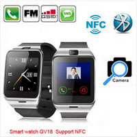 Wholesale Original NFC GV18 and DZ09 bluetooth Smart watch Q18 Wrist Watch with camera android support SIM for iPhone Android Smart Phone HTC
