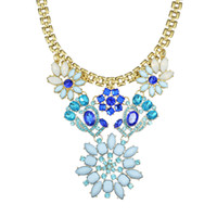 Wholesale New Fashion Luxury Imitation Gemstone Flower Statement Necklaces