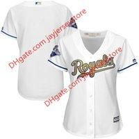 baseball programs - custom Women s Kansas City Royals Majestic White Home World Series Champions Gold Program Cool Base Jersey