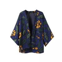 Wholesale BE32 Autumn European Fashion Vintage Floral Print Kimono Woman Casual Loose Bat Sleeve jacket