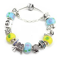 baby love strollers - Love Baby Stroller amp Baby Clothes CZ Stone Charms Smile Mickey European Glass Beads Silver Bracelet For MOM Jewelry PBS034