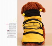bee teddy - Pet clothes cute bees pack dog clothes Teddy VIP dog clothes Fleece Thickened warm for dog winter wear yellow color pet good winter clothes