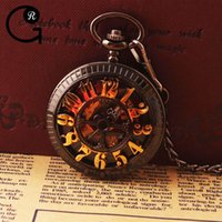 antique vintage display case - GR Antique Hollow Arabic Numbers Black Case Vine Black Dial Pocket Watch Mechanical Analog Display Pendant Watch Best Gift For Father