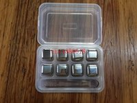 Wholesale 1set Stainless Steel Whisky Stones Ice Cubes Glacier Cooler Stone Whiskey Rocks pc ice cube clip