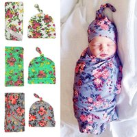 Wholesale Newborn Swaddle Blanket Knot Caps Set Baby Floral Pattern waddle set with cap Cotton gray green white robes