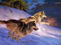Wholesale HD Print canvas Home decor Art Painting two Snow Wolfs No frame