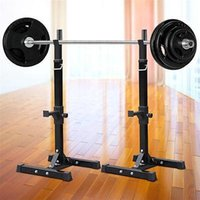 Wholesale 2pcs Adjustable Rack Standard Solid Steel Squat Stands Barbell Free Press Bench