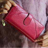 Wholesale Royal Style Wallet for Women Purse Genuine Leather Women Wallets Large Zipper Long Wallet Women Phone Pouch Wrislet Purses