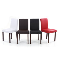 Wholesale IKAYAA Set of Modern Faux Leather Dining Chairs Wood Frame Padded Kitchen Side Parson Chairs Breakfast Stools US STOCK H16757