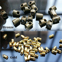 Cheap 100pcs  lot Hole 4mm Bronze Gold Metal Cord End Caps For Leather Cords String For Jewelry DIY Fittings Connectors F1760