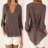 womens tops - Sexy Womens V neck T Shirt OL Tops Blouse Chiffon Casual Long Sleeve Plus Size Loose Vestidos femininos