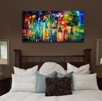 Wholesale Streetscape Paintings Modern Abstract Oil Painting on Canvas Handpainted Wall Art Home Decor A