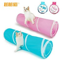 Wholesale Hot sale fashion trumpet foldable single pure color spiral cat tunnel with rustling sound cat toys