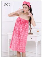 bath set printing - Sexy Women Nightwear Cute Robes Bath Towel Set With Hair Band Bathrobe Absorbency Spa Body Microfiber Hair Towel Beach Towel Sexy Sleepwear