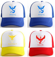 Wholesale INSTINCT VALOR MYSTIC YELLOW RED BLUE Poke mon Go Hat Mystic Trucker Hat Snap Back